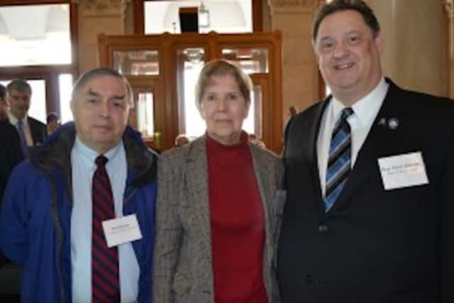 State Rep. Mitch Bolinsky along with Kathy Quinn, chairman of the Newtown Energy Task Force Committee, and Fred Hurley, Director of Public Works for Newtown.