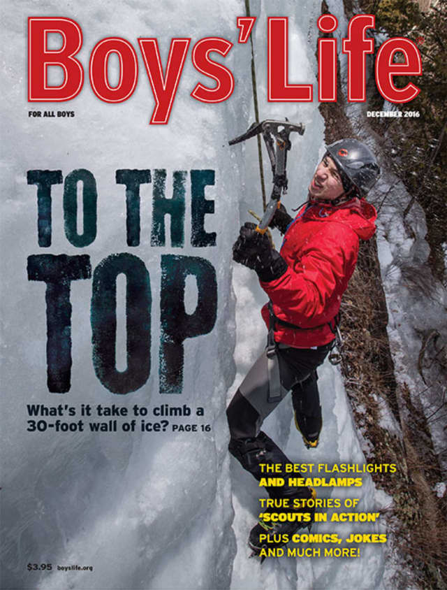 "Dunlin Stathis, a Katonah resident and alum of Boy Scout Troop 154 in Goldens Bridge, climbs an ice wall at camp last February. The Eagle Scout was featured on the cover of ""Boys' Life"" magazine."