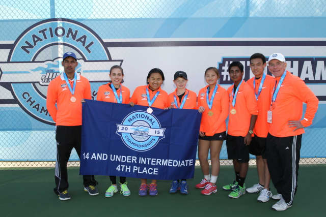 The fourth-place team from Brewster at last weekend's USTA Junior Team Tennis event. Left to right: Coach Randy Mani, Lea Letorneau, Hillary Sherpa, James Cosby, Allison Yu, Krishna Koka, Tadd Long and Coach Kevin Kumerle.