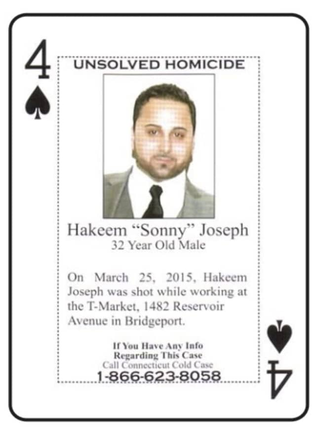 "One of the cold case playing cards, featuring information about the unsolved murder of Hakeem ""Sonny"" Joseph"