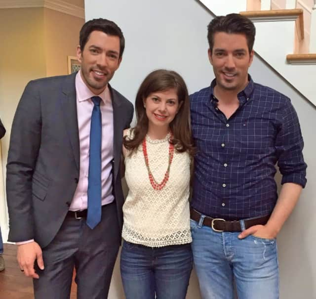 Brittany Zachos of the Greenwich-based  Zachos Design Group, with the Property Brothers.