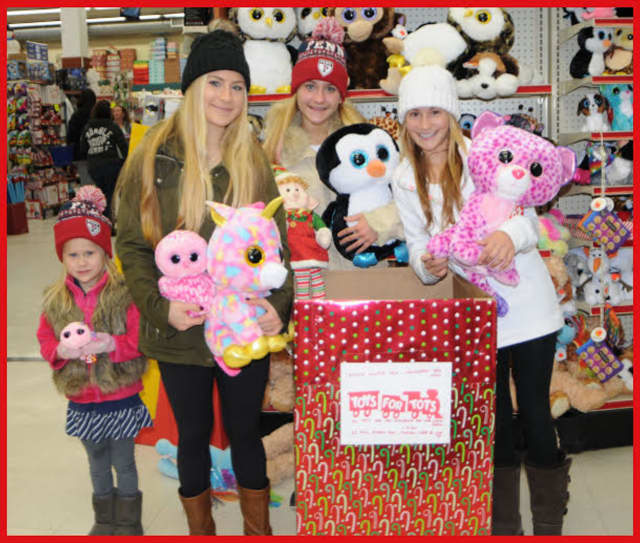 For the fifth straight year, Toys for Tots is being run by Bronxville school students. From left are Ircha sisters Jane, Sasha, Kirsten, and Caroline, official representatives of the 2015 campaign.