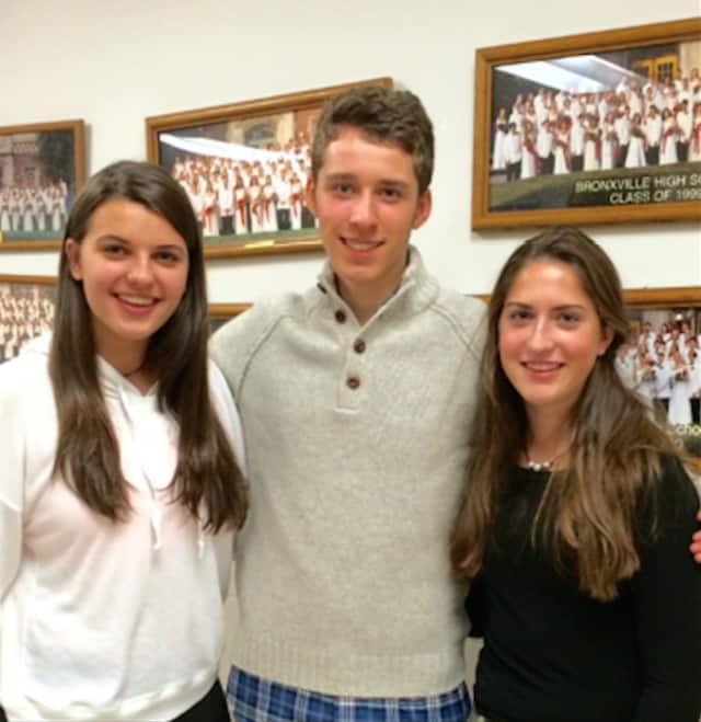 Bronxville High School Social Awareness club leaders Natalia Kaminski, Liam Siegel and Martha Thomas.