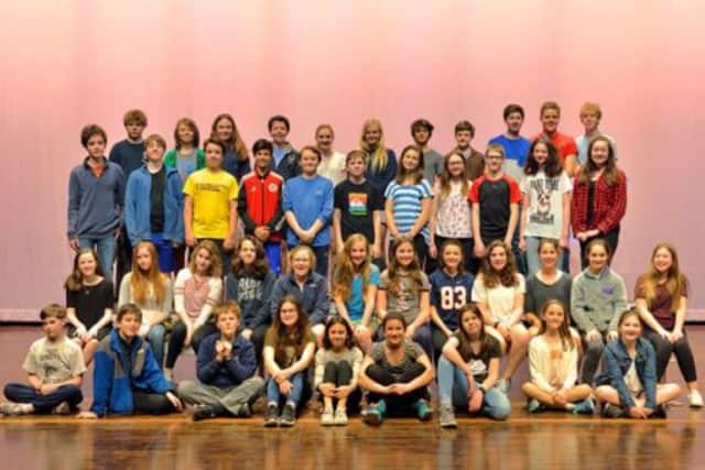 "The cast and crew for Bronxville Middle School's production of ""Fiddler on the Roof, Jr.""pose for a photograph."