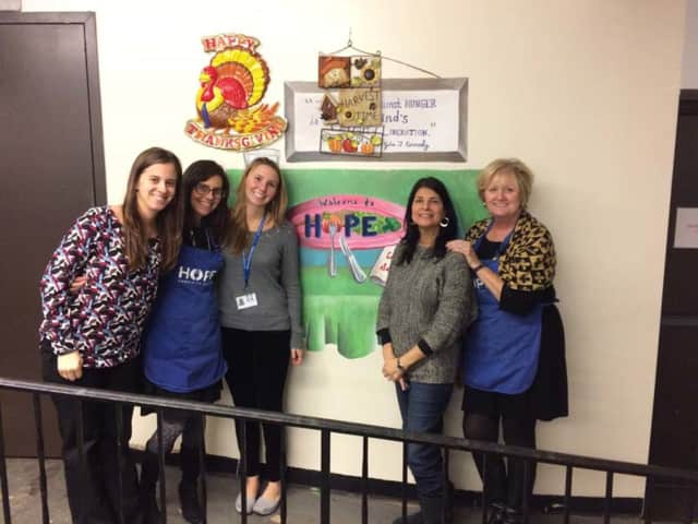 What started out as a one-time volunteer effort at New Rochelle's Hope Community Services soup kitchen has become a monthly effort for a group of Bronxville Elementary School teachers and staff members.