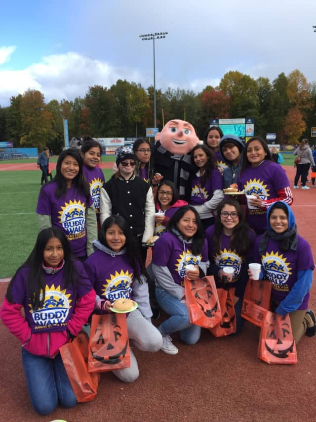 The Peekskill girls varsity soccer team volunteered at the Down Syndrome Buddy Walk.
