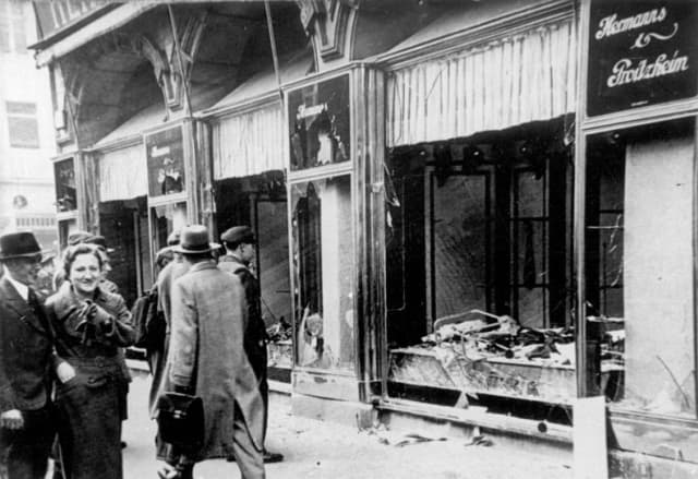 The destruction of Jewish stores in Magdeburg after Kristallnacht. Photograph by Georg Pahl, from the German Federal Archives.