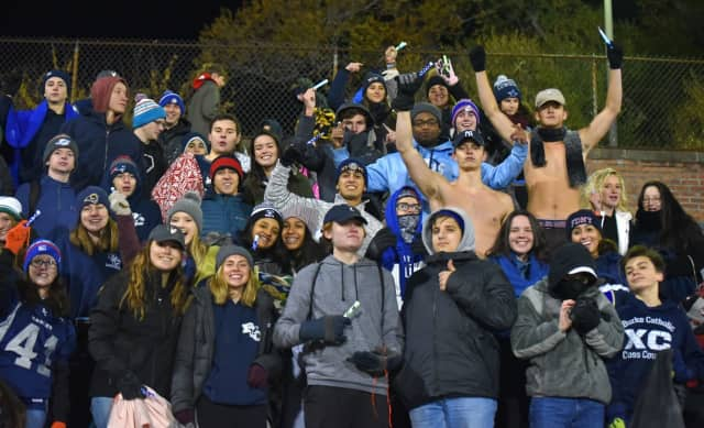Students from Burke Catholic dressed in blue during Saturday's football game in honor of Diabetes Awareness Month.