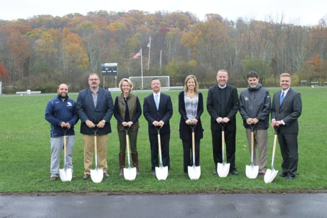 The groundbreaking for Burke Catholic's new track.
