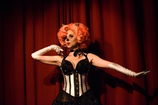 "Cherry Pitz as co-host, who also performed a tribute to ""Pet Sematary."" Courtesy Hotsy Totsy Burlesque."