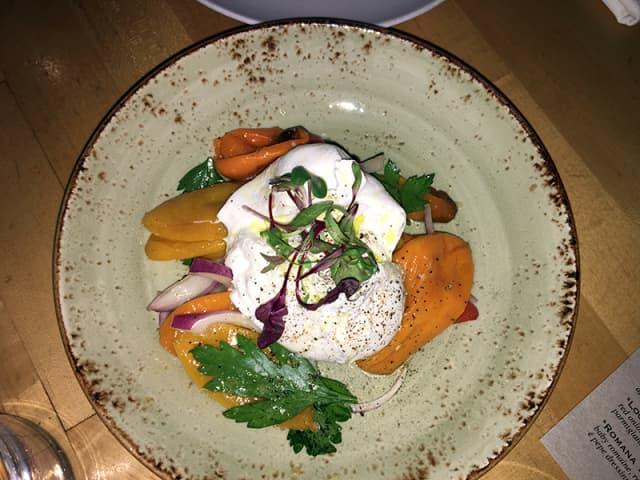 The creamy Burrata salad. Photograph by Danielle Renda.
