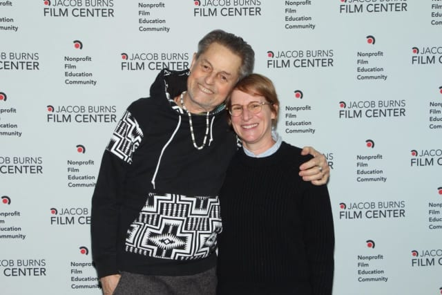 Jonathan Demme (l) at the Jacob Burns Film Center. Demme was a regular patron of the Burns and was elected to its Board of Directors.
