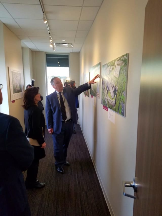 Lt. Gov. Kathy Hochul tours a replica of the new patient pavilion at Vassar Brothers Medical Center in Poughkeepsie.