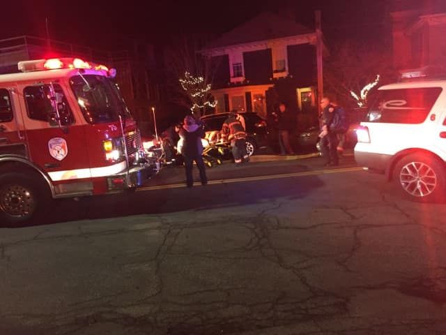 Two elderly residents were injured when a fire broke out in a Warburton Avenue apartment complex in Yonkers.