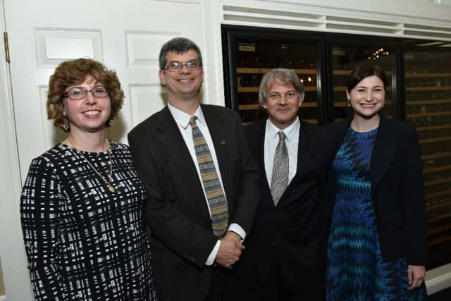 Representatives from four grantee organizations (l-r): Lisa Wisotsky, Friends of the John T. Wright Arena; Steve Weissner, Flat Rock Brook Nature Center; Scott Reddin, Southeast Senior Center for Independent Living; and Amy Sokal of ArtWorks.