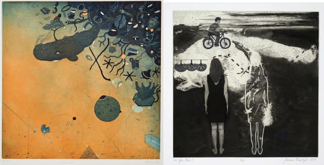 """Best in Show Award Winners: Left: Juha Tammenpää, Sundom, Finland, """"Gravity,"""" Etching and aquatint; and right, Miriam Rudolph, Edmonton, Canada, """"Are You There?"""" Intaglio with chine collé."""