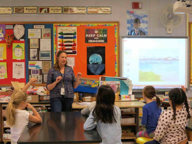 Croton-on-Hudson artist Melissa Freebern treated Carrie E. Tompkins Elementary School third-grade students to a special presentation about her work, which is on display at the Croton Free Library through the end of April.