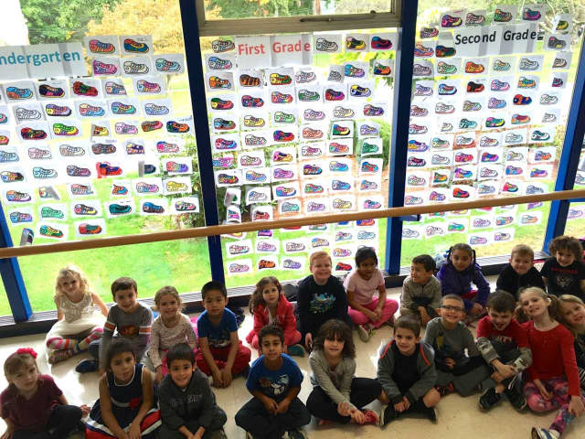 Carrie E. Tompkins Elementary School students decorated sneakers in preparation for the annual Harry Chapin Memorial Run/Walk Against Hunger.