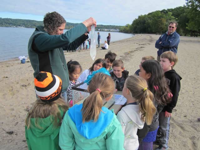 First-grade Croton-Harmon students recently took trips to Croton Point Park to become acquainted with the properties of the Hudson River.