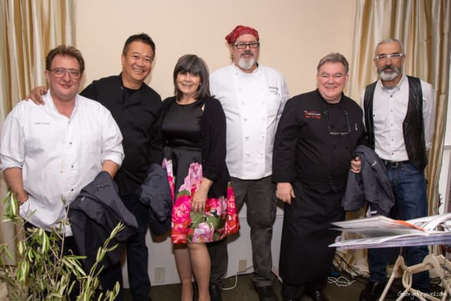 From left, Didier Dumas of Didier Dumas Patisserie; Doug Nguyen of SABI Sushi, Dumplings & Noodles; Mary P. Leahy, MD, CEO of Bon Secours Charity Health System; Kevin Reilly of Roost Restaurant; Peter X. Kelly of Xaviers Restaurant Group; Matt Hudson