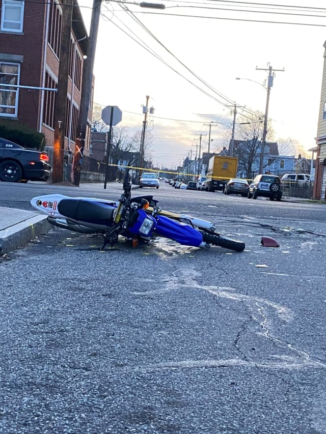 The motorcycle a Bridgeport was riding when it collided with a vehicle.