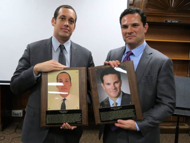Jason Newman and Jonathan Henes were formally inducted into the school's Hall of Distinguished Graduates last month.