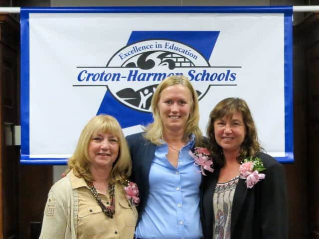 Croton-Harmon's Robin Cooke, Kelly Maloney and Phyllis Carr were recognized for 25 years of service to the district.