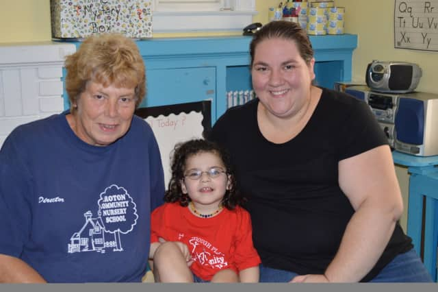 Barbara Swanson, left, has Sophie Cohen-Stumer, center, in her 3s class at Croton Community Nursery School. Swanson also cared for Sophie's mother, Linda Cohen-Stumer, right, when she was a child at CCNS.