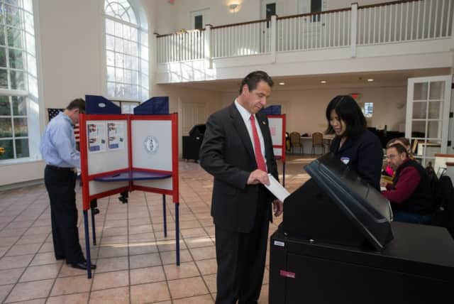 New York Gov. Andrew Cuomo casting his vote early on Tuesday.