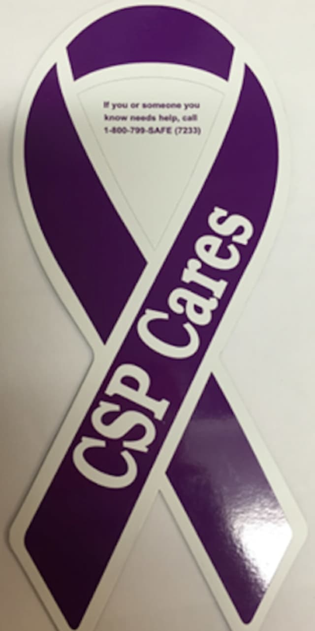 In support of Domestic Violence Awareness month, all Connecticut State Police will be displaying magnets of purple ribbons on all marked cars.