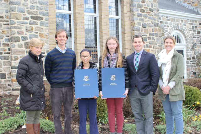 Middle School History Teacher Sue Gartner, Middle School Dean of Students and Science Teacher Peter Lingenheld, Julong Sage Williams, Megan Heneghan, Head of Middle and Upper Schools Christopher Pannone and Middle School Dean of Students Sarah Rand.