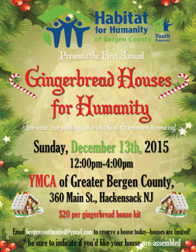 The Youth United group of Habitat for Humanity of Bergen County is hosting a gingerbread house event Dec. 13 in Hackensack.