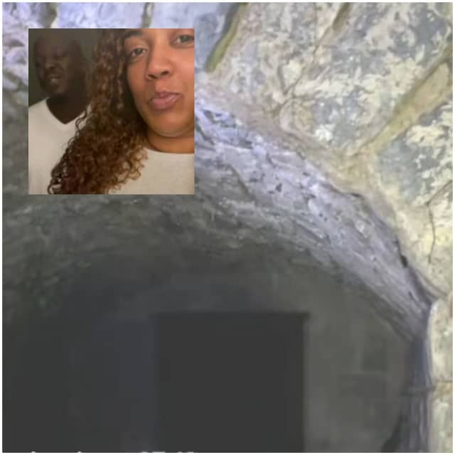 Maya Moody and her cousin Steve; the tunnel Maya Moody fell into at her cousin Steve's Harrisburg area house.