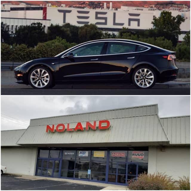 A new Tesla dealership is being built at the old Mechanicsburg Noland.