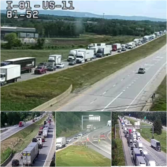 Major traffic back-up in southbound lanes along Interstate 81 in Cumberland County due to a multi-vehicle crash.