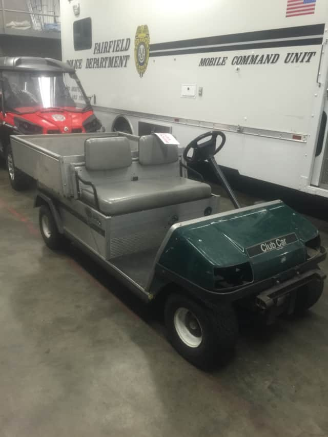 Police say two teens took this groundskeeper's cart from the Carl J. Dickman Par 3 in Fairfield, leading officers on a brief foot chase Friday night.