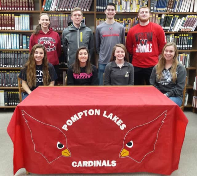 Pompton Lakes High School students announce their college decisions on National Signing Day.