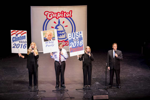 Improv comedy act Capitol Steps will send up the election with a show at the Ridgefield Playhouse on Nov. 5.
