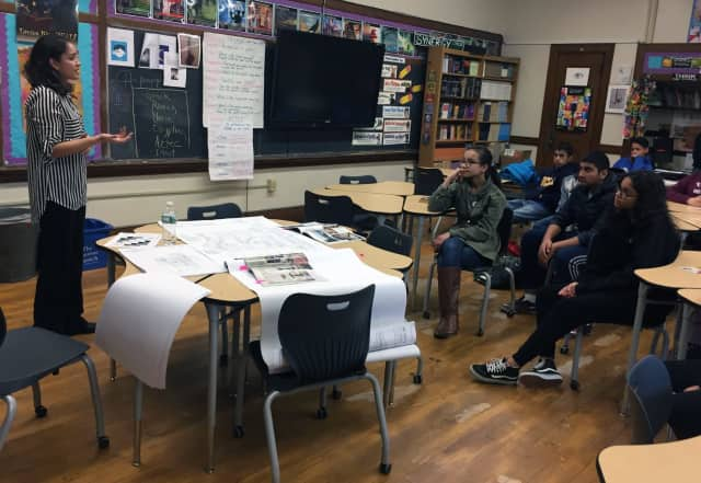 A 2007 Alexander High School graduate Meagan Rivera, an architect with Keller/Eaton Architects of Mamaroneck, speaks at a career day.