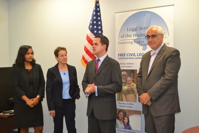 Sheeba Mathai, Attorney in Charge of LSHV's Rockland Office; Barbara Finkelstein, LSHV's CEO; New York State Senator David Carlucci; and Paul W. Adler, Esq., Regional Manager at Rand Commercial and LSHV Board Member.