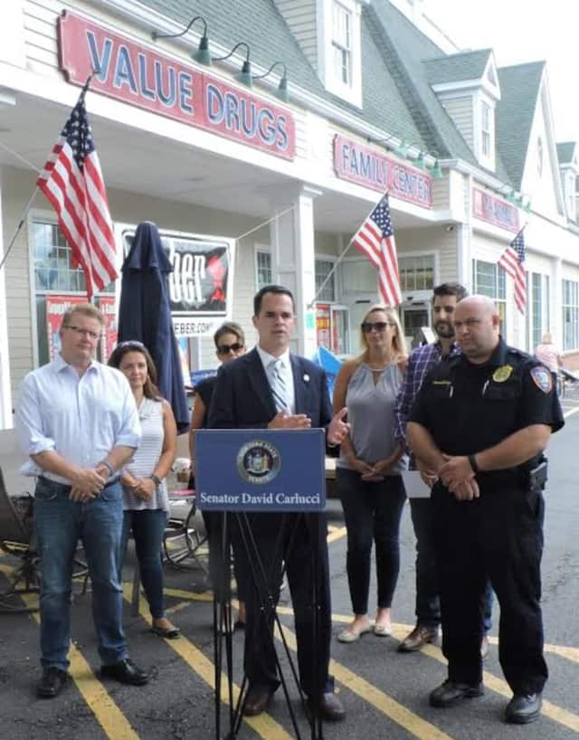 """Sen. David Carlucci, D-Westchester/Rockland, announces in Briarcliff Manor Friday that he has introduced legislation aimed at curbing """"gouging"""" for life-saving devices such as the EpiPen."""