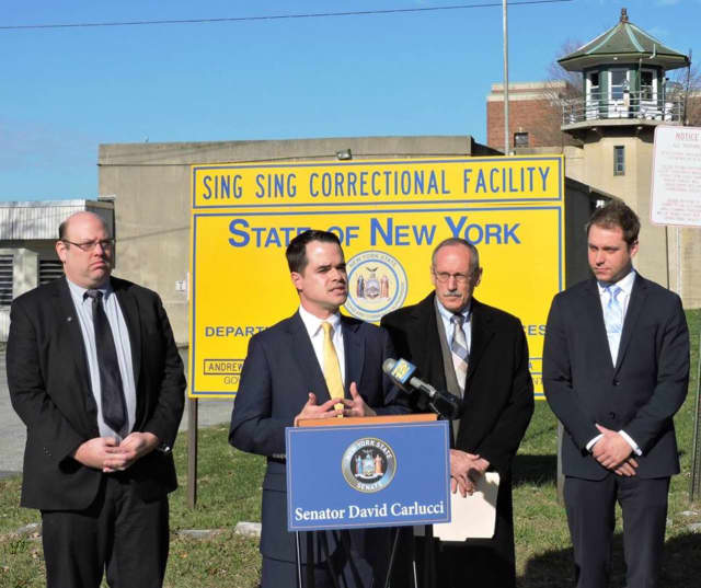 Carlucci is joined from left by Matthew Shapiro, NAMI - NY State, Jack Beck, the Correctional Association of New York, and Tom Templeton, NYAPRS, in front of Sing Sing Prison calling on Gov. Cuomo to expand mental health training in state prisons.