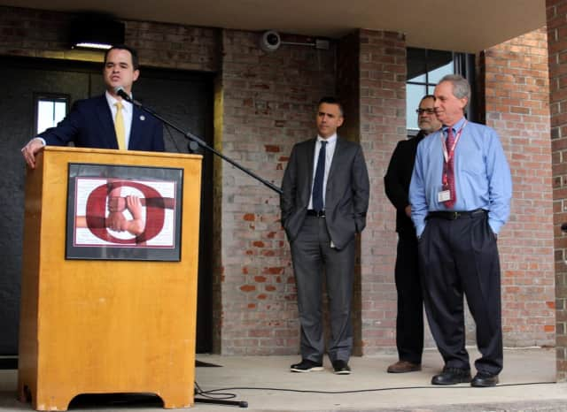 Sen. David Carlucci discusses Ossining's new $1 million grant to improve the main entrance.