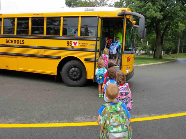 Carrie E. Tompkins Elementary School kindergarten students took their first bus ride during their first day of school on Sept. 1.