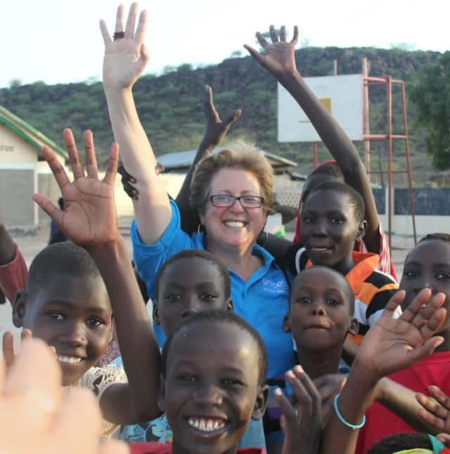 Caryl Stern, center, president and CEO of the U.S. Fund for UNICEF.