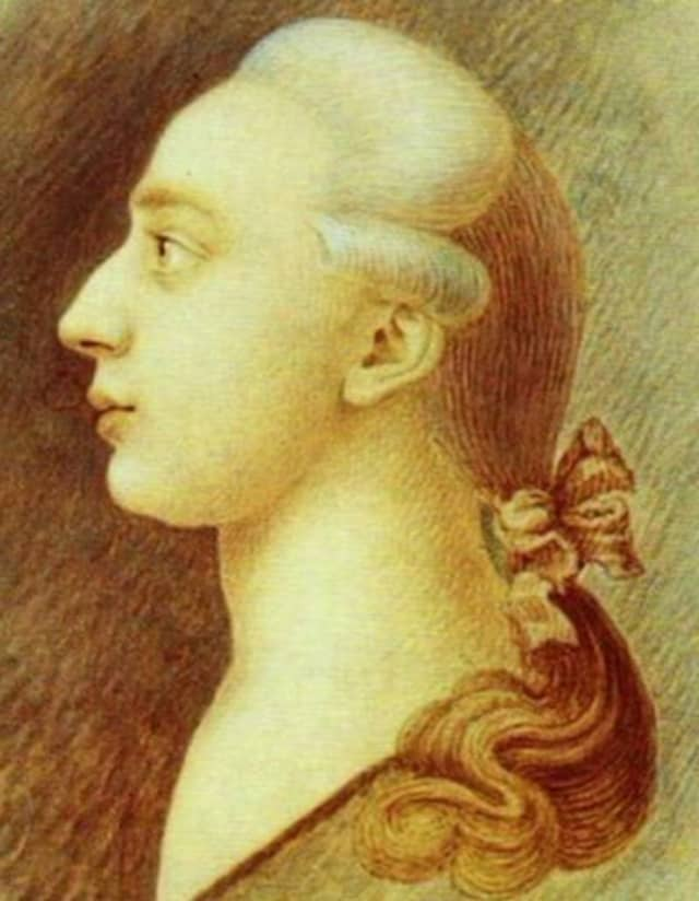 A drawing of Giacomo Casanova, circa 1750-55, by his artist-brother Francesco. State Historical Museum, Moscow