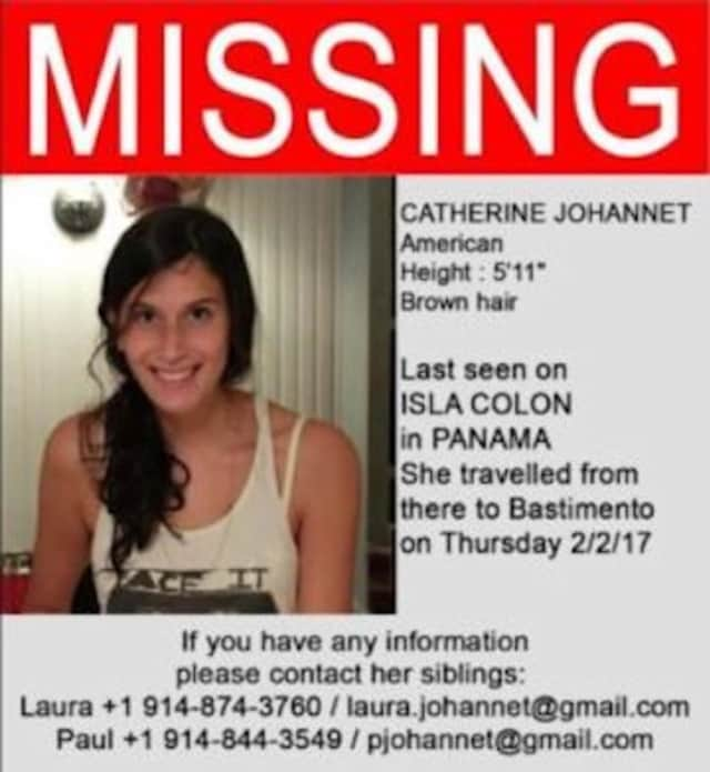 Friends of Catherine Johannet of Scarsdale hung this poster in hopes of finding the 23-year-old who was missing in Panama.