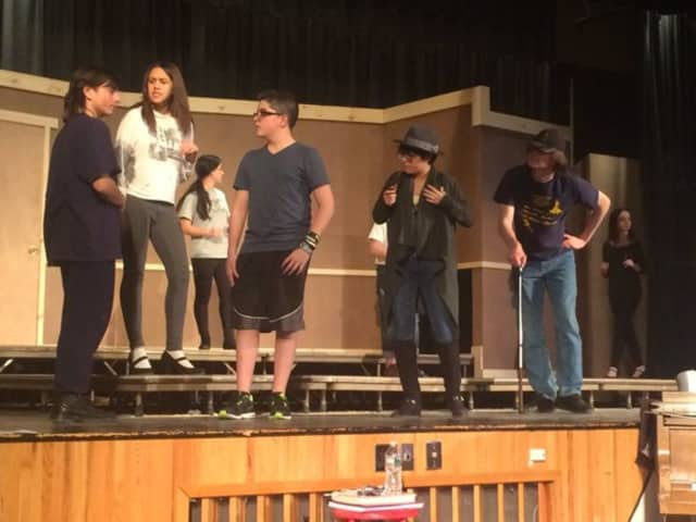 "Saddle Brook students prepare for a production of ""The Mystery of Edwin Drood."""