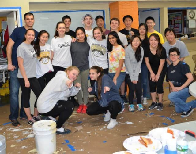 Students from Bergen County Academies volunteered at St. Paul's CDC.