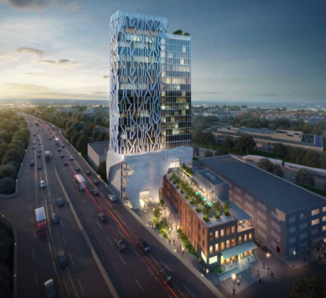 An artist's rendering of the proposed hotel development on Cedar Street in New Rochelle.